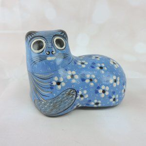 "Mexico Blue Folk Art Ceramic Cat Figurine 5"" Kitty"